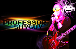 Professor Shyguy carries a guitar and sings into a microphone beside his name (which is in front of a splash of rainbow colors)