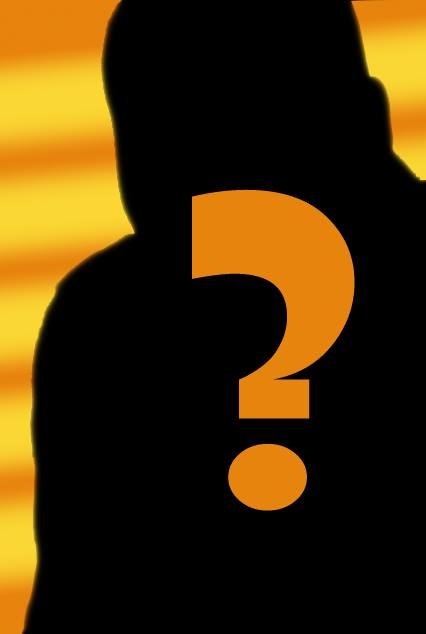 Kevin in a mysterious black silhouette against a rippling yellow and orange gradient background.  He sports a large orange question mark.  Who is Kevin R. Free?