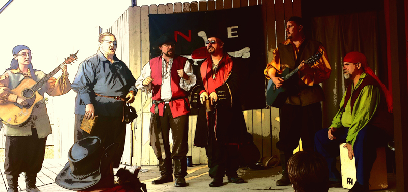 a band dressed as pirates sings while holding various instruments